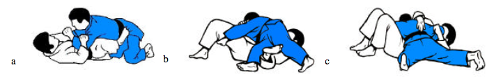escape into Yoko-shiho-gatame from between Uke's legs - From BJA Pictorial Guide